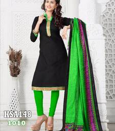 Buy KING SALES NEW LATEST FANCY BLACK AND PARROT GREEN BANARASI LACE WORK HEAVY INDO CHUDIDAR SUIT salwars-and-churidar online