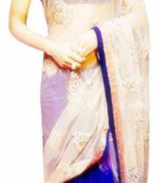 Buy online shopping bollywood sarees blue baige half half sari priyanka-chopra-saree online