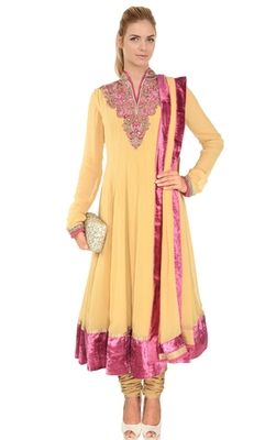 Buy Yellow Color Hand Embroidered Readymade Anarkali