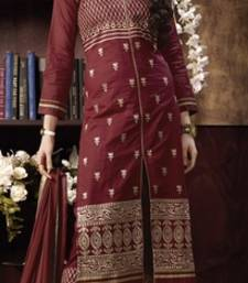 Buy Maroon embroidered Pure Cotton unstitched salwar with dupatta salwar-kameez-below-300 online