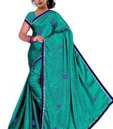Buy Dark Turquoise embroidered satin saree with blouse satin-saree online