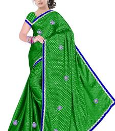 Buy parrot Green embroidered satin saree with blouse satin-saree online