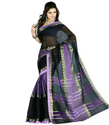 Buy Black hand_woven cotton saree with blouse cotton-saree online