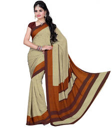 Buy Classic Beige Pure Crepe Printed saree with blouse crepe-saree online