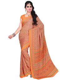 Buy Charming Peach And Orange Pure Crepe saree with blouse crepe-saree online