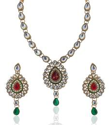 Buy Red Green Kundan Like Work Necklace Set b160mg necklace-set online
