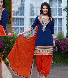 Buy Exclusive Latest Designer Blue And Orange Patiyala Suits dress-material online