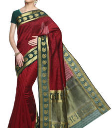 Buy maroon plain silk saree with blouse wedding-saree online