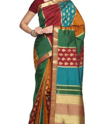 Buy multicolour plain silk saree with blouse wedding-saree online