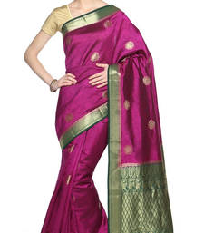 Buy pink plain silk saree with blouse wedding-saree online