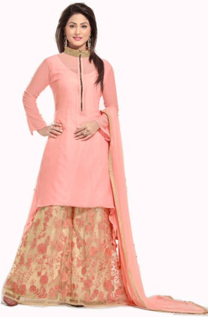 Buy Pink Embroidered Georgette Plazo Fits Online