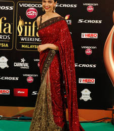 Buy red and beige embroidered georgette saree with blouse deepika-padukone-saree online