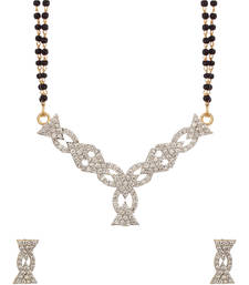 Buy Double Chain Mangalsutra Set With CZ Embellished Pendant mangalsutra online