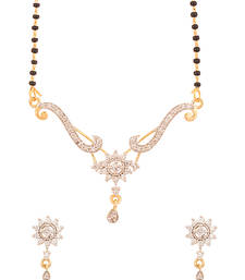 Buy Single Strand Gold Plated Floral Mangalsutra Set Studded With Cz mangalsutra online