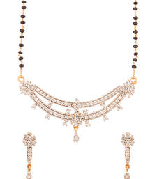 Buy Gold Plated Single Strand Mangalsutra Set With Cz Pendant mangalsutra online