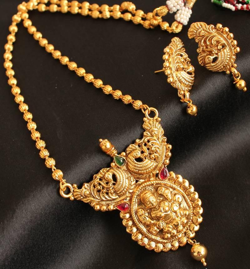 Buy Divine Antique Traditional Lakshmi Peacock Pendant