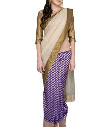 Buy Gold woven silk saree with blouse chanderi-saree online