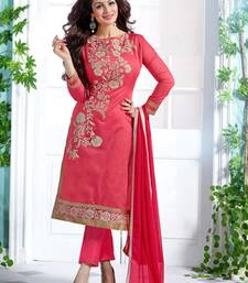 Pink embroidered Chanderi and cotton semi stitched salwar with dupatta shop online