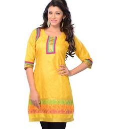 Buy Yellow Printed Jacquard Half Sleeves Kurti tunic online