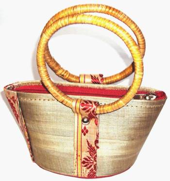 Muga Silk designer Ladies Handbag with cane handle with weaving | Buy