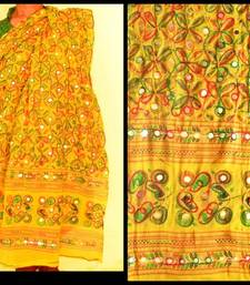Buy Yellow Multicolour Kutch Aari work Embroidery with mirror work fully done over Dupatta stole-and-dupatta online