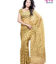 Buy Wow feeling Fancy Designer saree made from Brasso and Net from Diva Fashion, Surat brasso-saree online