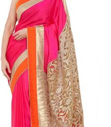 Buy pink and orange embroidere georgette saree with blouse art-silk-saree online