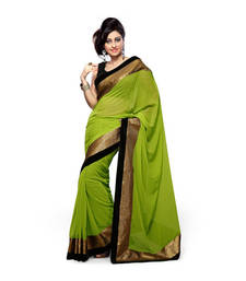 Buy Green embroidered Georgette saree with blouse art-silk-saree online