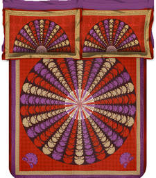 Buy Jaipuri Sanagari Print MultiColour Double Bed Sheet With 2 Pillow Covers bed-sheet online