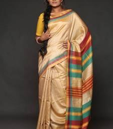 Buy Handwoven Tusser Silk Saree - ECO STREE silk-saree online
