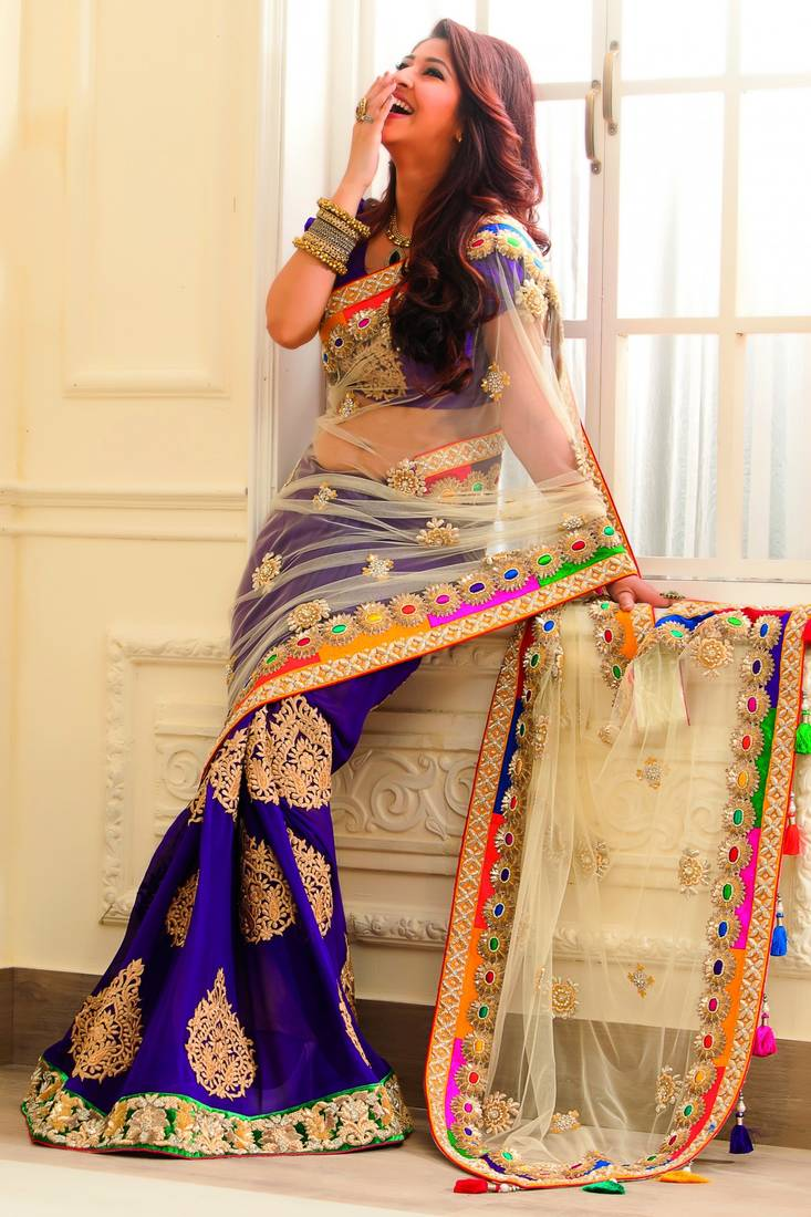 Buy Chiku Net And Blue Silk Georgette Worked Bridal Saree With Blouse Online