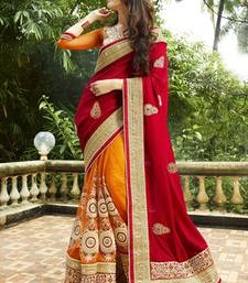 Buy Orange  and  Red embroidered Net  and  Georgette saree with blouse wedding-saree online