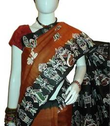 Buy Copper color designer Tussar Silk saree with blouse tussar-silk-saree online