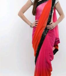 Buy Pink and  Orange  and  Silver Georgette Saree With Dupion Silk Blouse bollywood-saree online