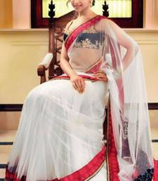 Buy White and  Red  and  Black Net Saree With Dupion Silk Blouse deepika-padukone-saree online