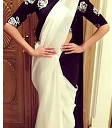 Buy White  and  Black Net  and  Georgette Saree with Dupion Blouse sonam-kapoor-saree online