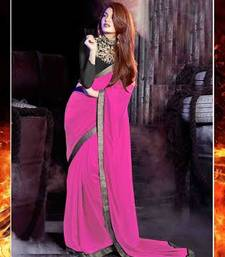 Buy Pink Georgette Saree With Black Dupion Blouse bollywood-saree online