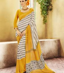Buy Mustard and  Offwhite Printed Georgette Saree with blouse georgette-saree online