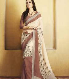 Buy Cream and  Brown Printed Georgette Saree with blouse georgette-saree online