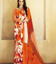 Buy Orange Printed Georgette Saree with blouse georgette-saree online