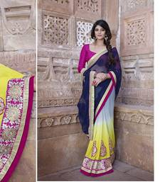 Buy Multicolor embroidered jacquard saree with blouse wedding-saree online