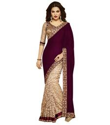 Buy Golden printed georgette saree with blouse georgette-saree online