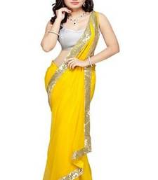 Buy Yellow Chiffon saree with blosue chiffon-saree online