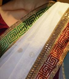 Buy ROYAL WHITE with RED & GREEN CHILLIES net-saree online