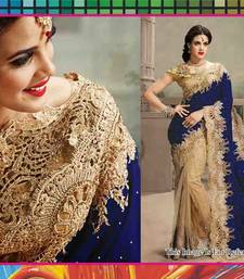 Buy Chiku and Navy Blue embroidered net saree with blouse net-saree online