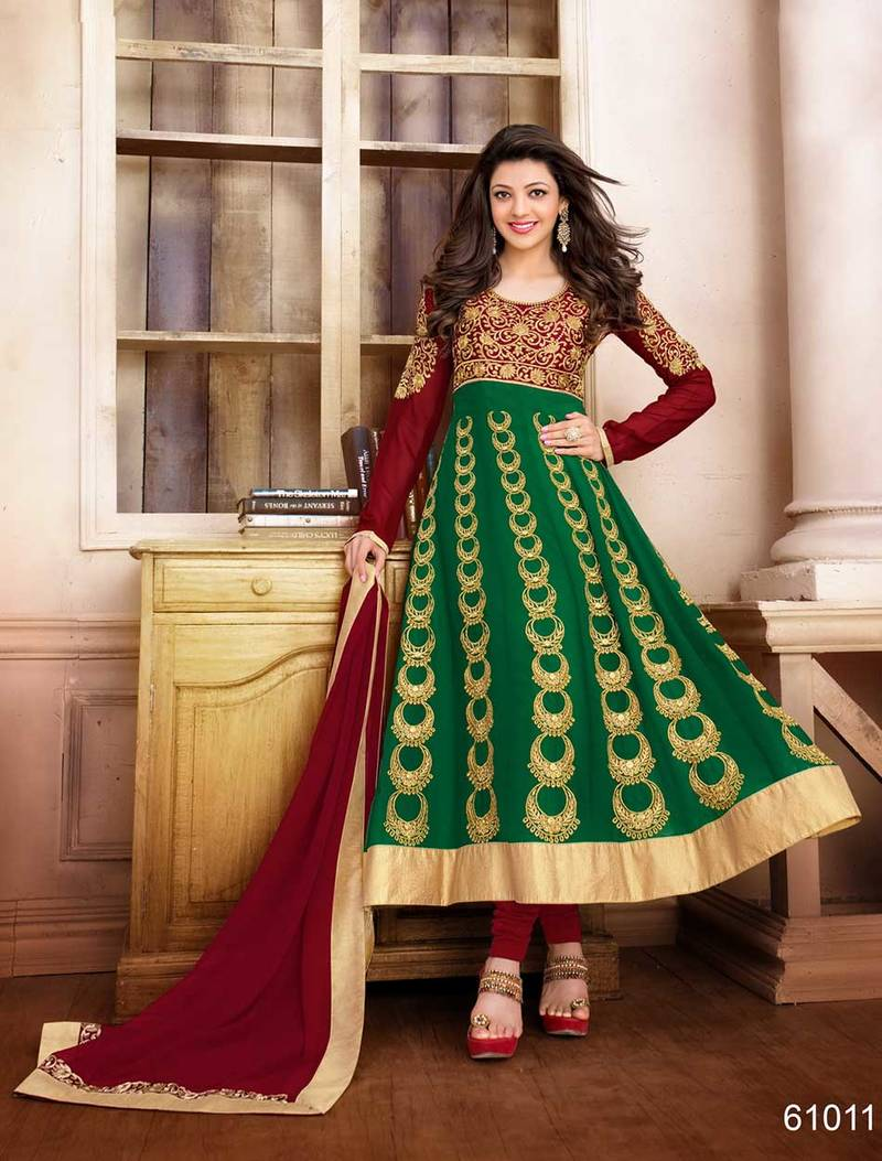 buy maroon and green embroidered georgette semi stitched salwar with
