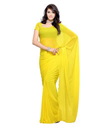 Buy Yellow plain georgette saree with blouse below-400 online