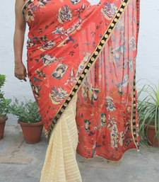 Buy Cream Red Digital print Chiffon Saree chiffon-saree online