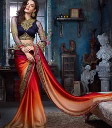 Buy red  and  chiku embroidered satin saree with blouse satin-saree online