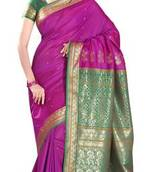 Buy Magenta Border Worked Art Silk Saree With Blouse